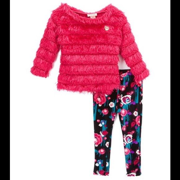 Juicy Couture Pink Ruffle Tunic & Floral Leggings